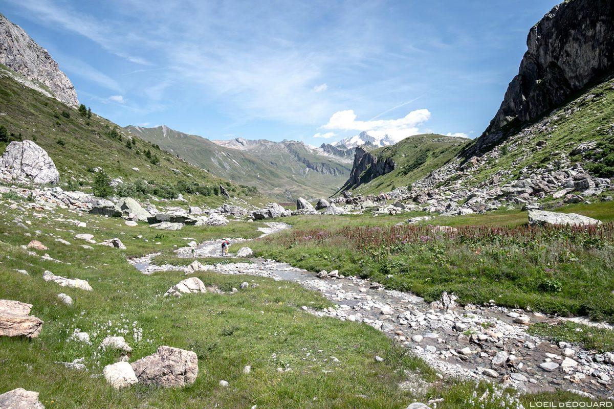 Ruisseau de la Neuva et le Mont Blanc, Cormet de Roselend, Le Beaufortain Savoie Alpes