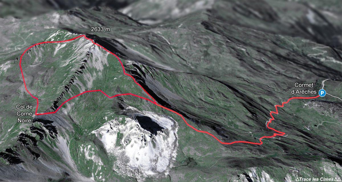 Tracé itinéraire de randonnée du Crêt du Rey, boucle par le Col de Combe Noire depuis le Cormet d'Arêches, Le Beaufortain Savoie Montagne Alpes