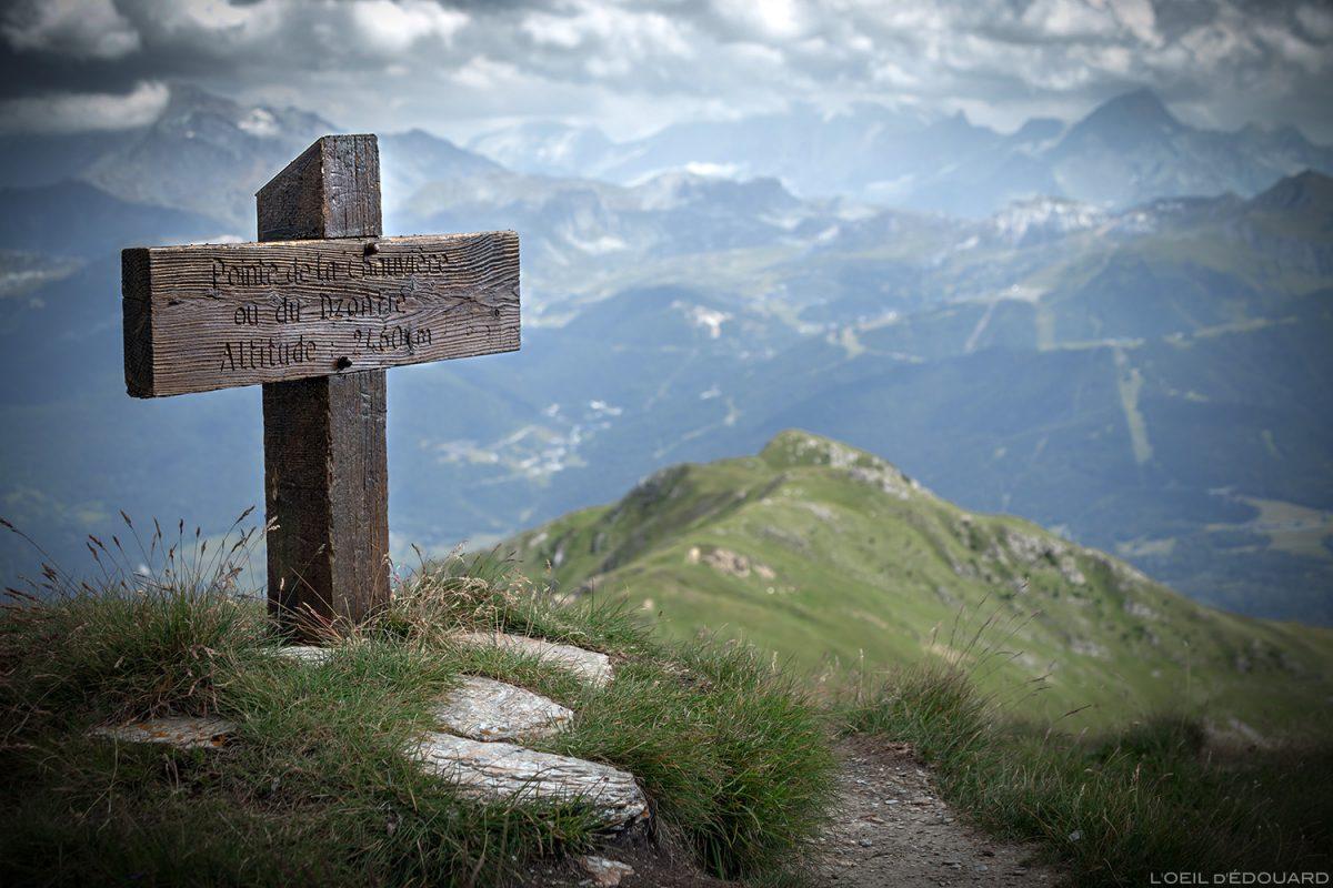 Croix en bois au sommet de la Pointe de Dzonfié / Pointe de la Chauvière - Le Beaufortain Savoie Paysage Montagne Alpes