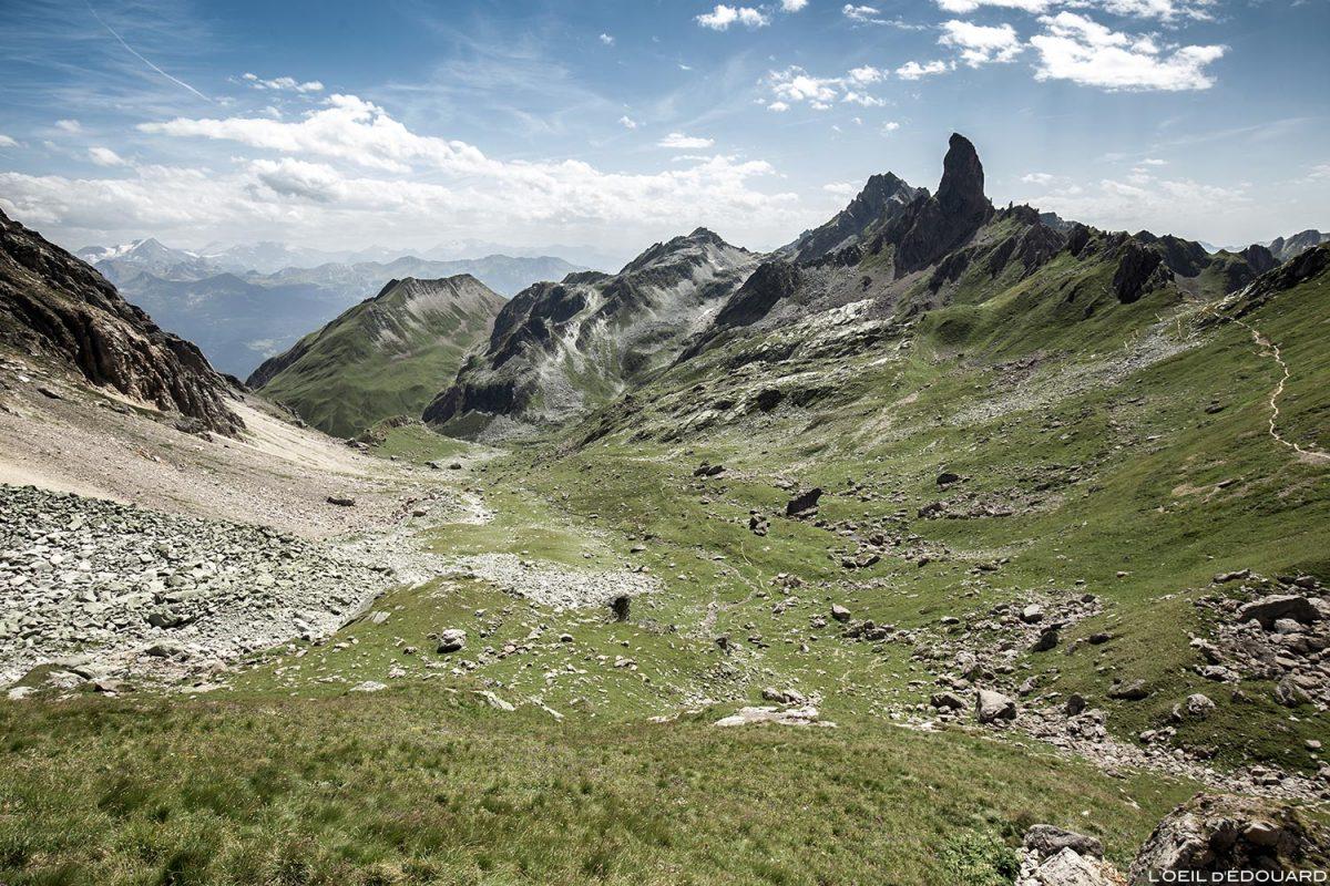 Vue sur la Balme avec la Pierra Menta depuis le Refuge de Presset, Le Beaufortain Savoie Paysage Montagne Alpes