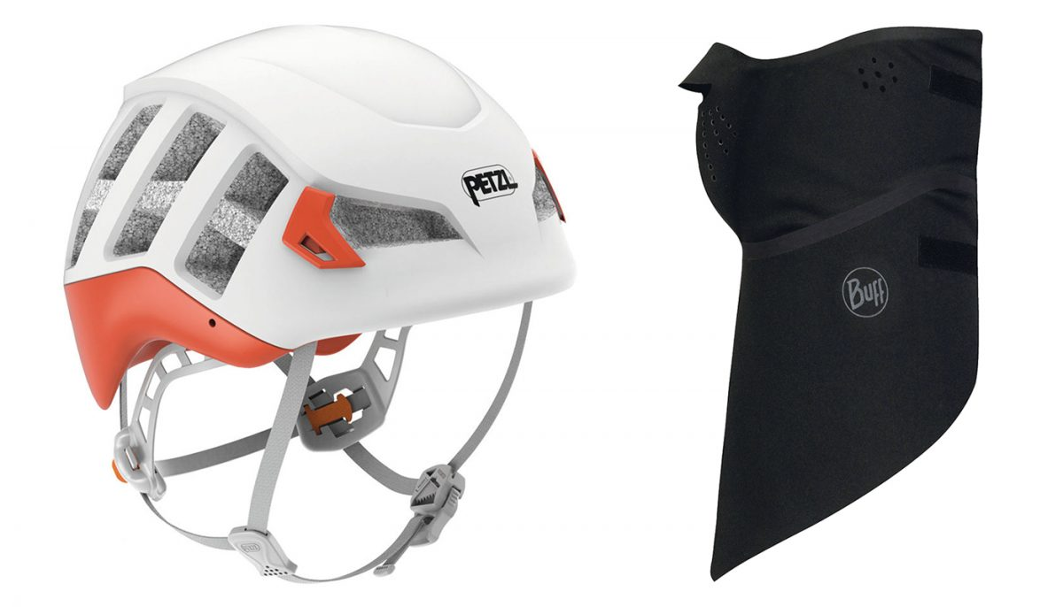 Casque ski de randonnée alpinisme Petzl Meteor orange / Bandana Buff Windproof