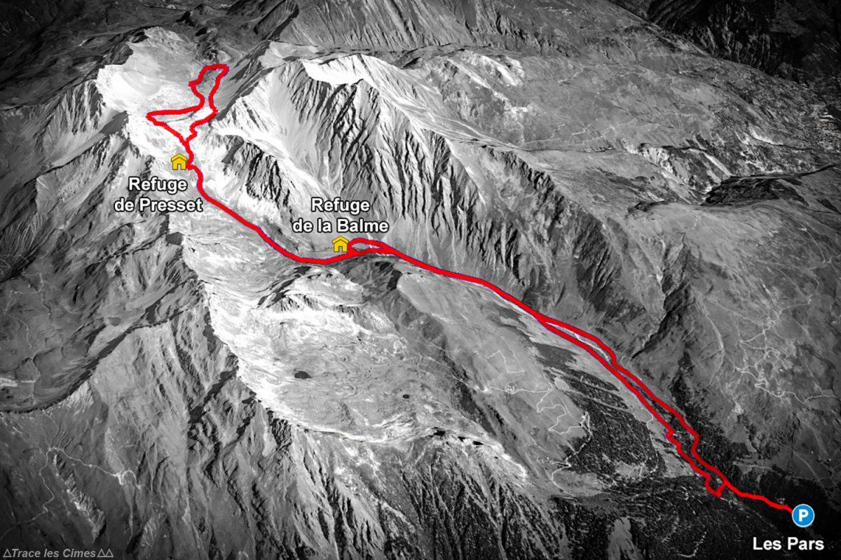 Topo Trace de l'itinéraire ski de randonnée au Refuge de Presset - Massif du Beaufortain, Savoie