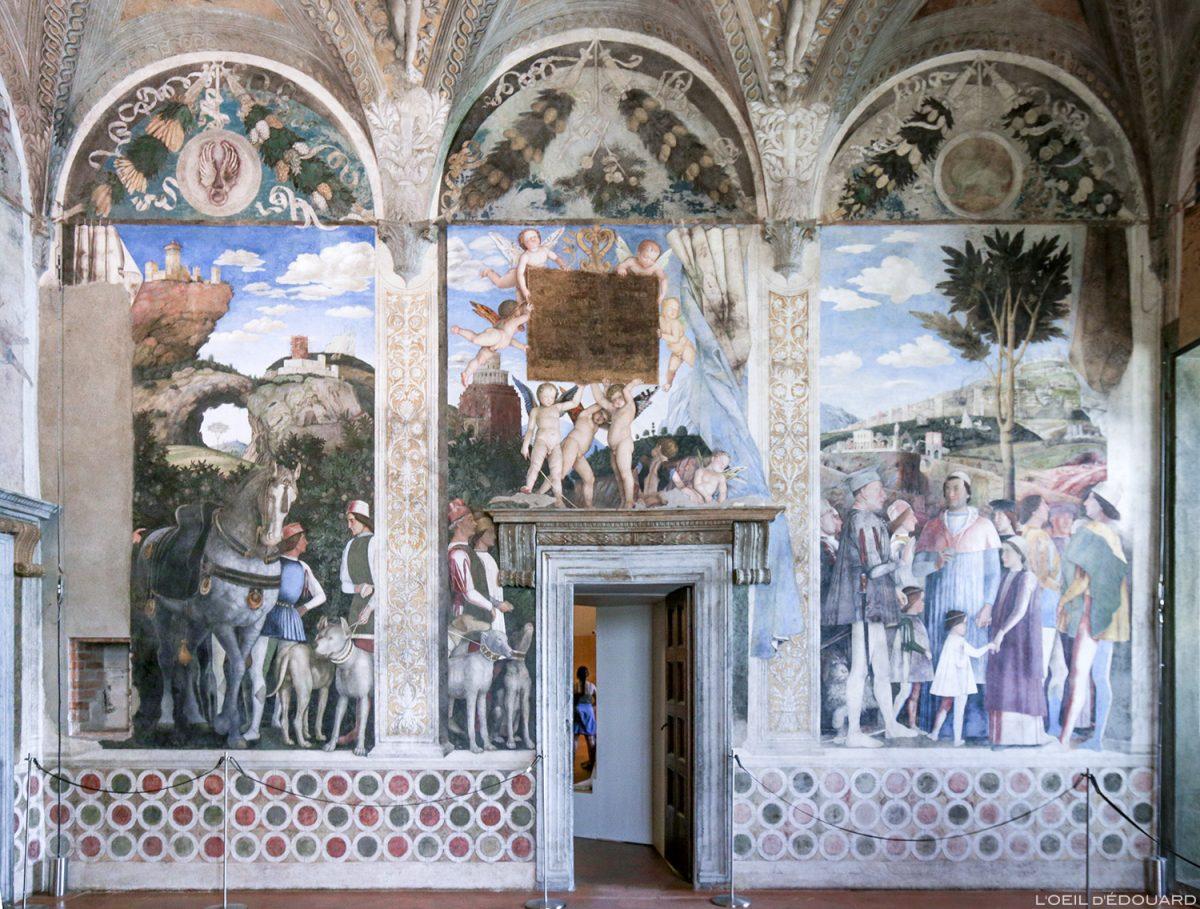 Peinture fresque de Andrea Mantegna, la Chambre des Époux, Palais ducal, Mantoue Italie - Affresco dell'incontro, La Camera degli Sposi (1465-1474) Palazzo Ducale di Mantova, Italia Italy paintings