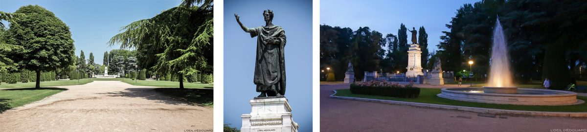 Sculpture Statue de Virgile dans le parc Giardini de la Piazza Virgiliana, Mantoue Italie / Mantova Italia Italy garden fountain