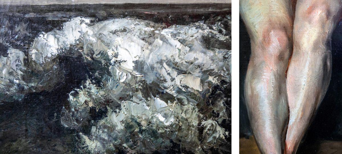 Alte Nationalgalerie : La Vague (détail) (1870) Gustave Courbet / Nu assis (Mademoiselle Rose) (1820-21) Eugène Delacroix - Île aux Musées de Berlin Allemagne / Museumsinsel Deutschland Germany painting