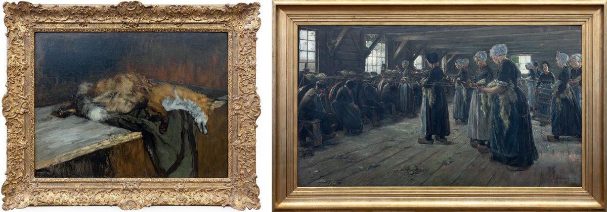 Alte Nationalgalerie : Toter Fuchs (1882/1883) Carl Schuch / Flachsscheuer (1887) Max Liebermann - Île aux Musées de Berlin Allemagne / Museumsinsel Deutschland Germany painting