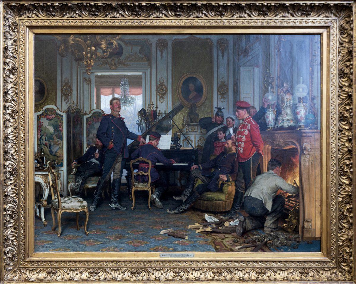 Alte Nationalgalerie : Im Etappenquartier for Paris (1894) Anton von Wermer - Île aux Musées de Berlin Allemagne / Museumsinsel Deutschland Germany painting