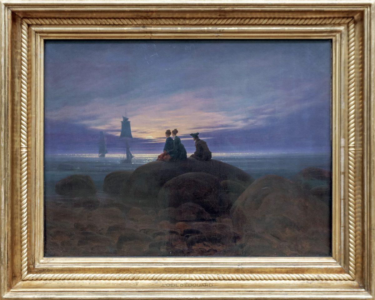 Lever de lune sur la mer / Mondaufgang am Meer (1822) Caspar David Friedrich - Alte Nationalgalerie, Île aux Musées de Berlin Allemagne / Museumsinsel Deutschland Germany painting