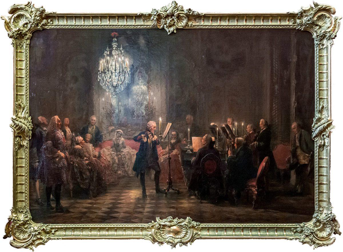 Alte Nationalgalerie : Flötenkonzert Friedrichs des Großen in Sanssouci (1850-52) Adolph Menzel - Île aux Musées de Berlin Allemagne / Museumsinsel Deutschland Germany painting