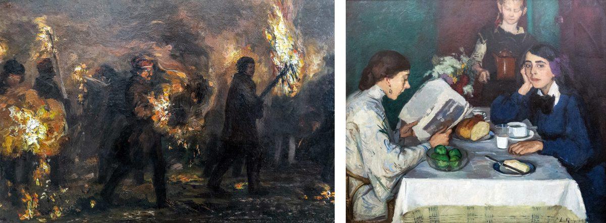 Alte Nationalgalerie : Studentenfackelzug (détail) (1859) Adolph Menzel / Am Frühstückstisch (1907) Leo Von König - Île aux Musées de Berlin Allemagne / Museumsinsel Deutschland Germany painting