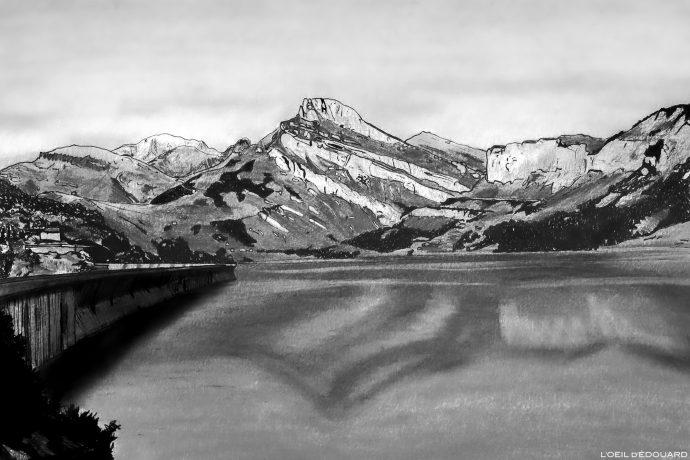 Dessin - Lac de Roselend et Roc du Vent, Massif du Beaufortain, Savoie, Paysage Montagne Alpes / Mountain Landscape Drawing © L'Oeil d'Édouard - Tous droits réservés