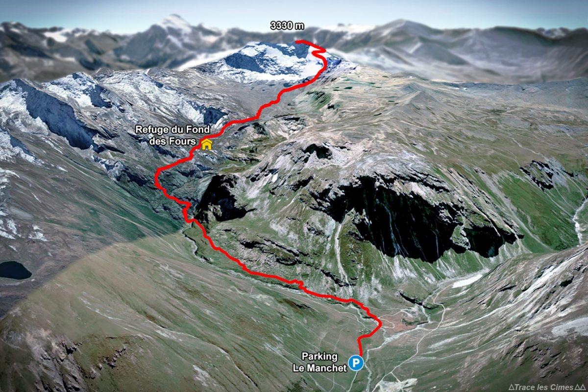 Trace itinéraire de randonnée Refuge du Fond des Fours et la Pointe de Méan Martin depuis le parking Le Manchet - Massif de la Vanoise, Montagne Alpes Mountain hike hiking