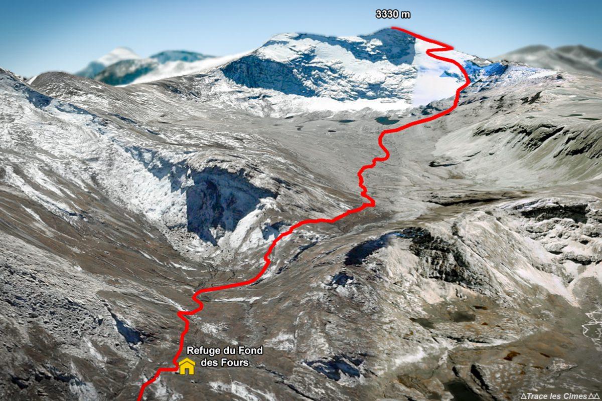 Trace itinéraire alpinisme à la Pointe de Méan Martin depuis le Refuge du Fond des Fours - Massif de la Vanoise, Montagne Alpes Mountain mountaineering