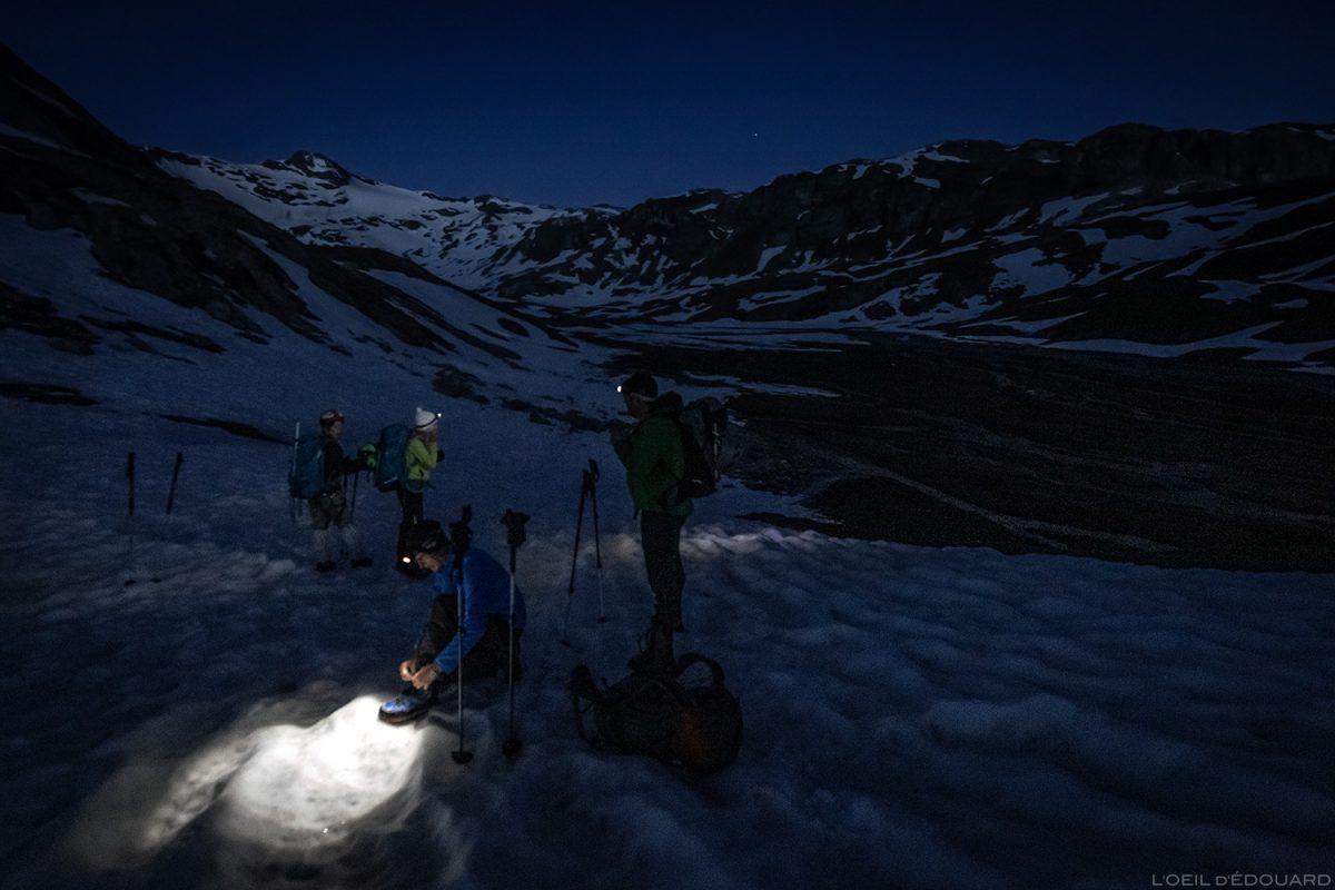 Alpinisme à la Pointe de Méan Martin, Massif de la Vanoise, Paysage Montagne Alpes Mountain mountaineering Landscape Night