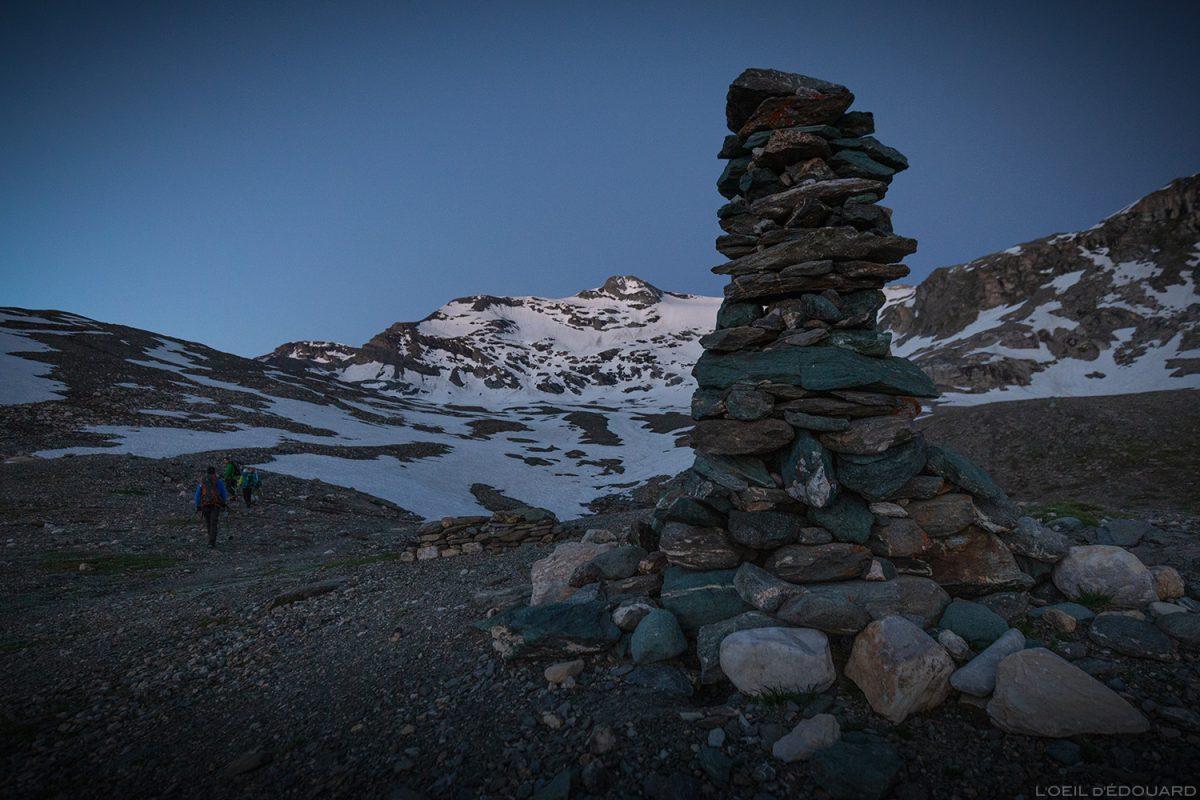 Cairn itinéraire vers la Pointe de Méan Martin, Massif de la Vanoise, Paysage Montagne Alpes Mountain Landscape