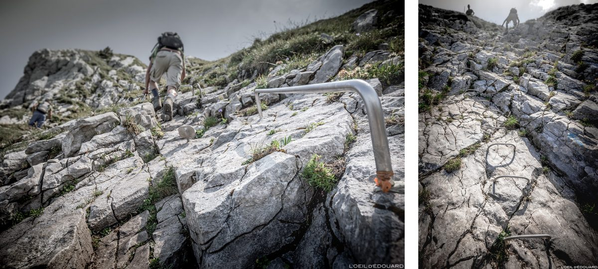 Passage barres et échelles à La Pointe de La Sambuy, Haute-Savoie Alpes - Paysage Montagne Randonnée Alpes Outdoor Mountain Landscape Hike Hiking summit