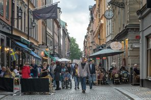 Bars et restaurants, rue Lilla Nygatan, Gamla Stan Stockholm Suède Sweden Sverige