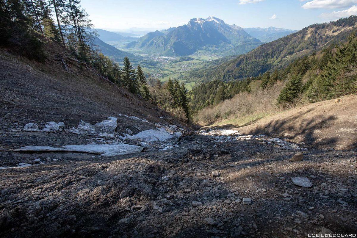 Éboulement de terrain Sentier de randonnée La Forêt de Pontvert - La Belle Étoile Bauges Savoie Alpes - Paysage Montagne Randonnée Outdoor Mountain Landscape