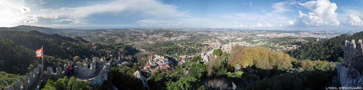 Vue panorama depuis Château des Maures, Sintra Portugal - Castelo dos Mouros Sintra Lisboa castle view