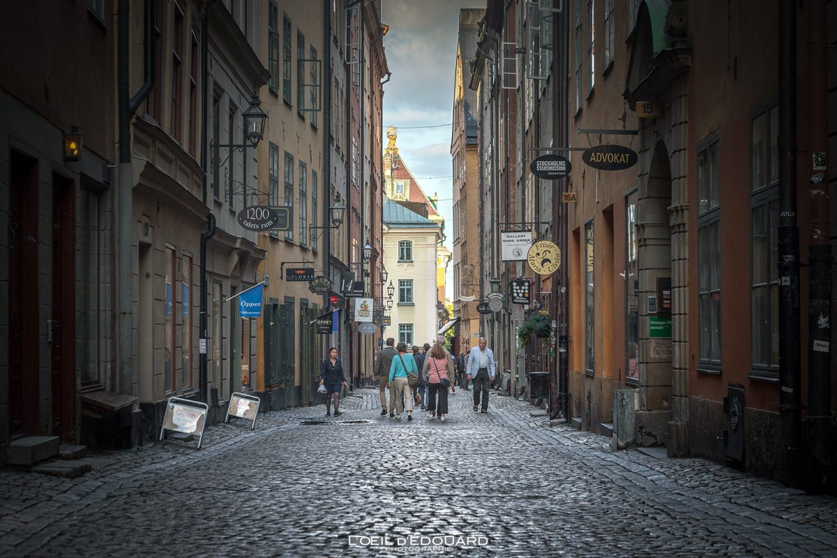 Rue Kopmangatan - vieille ville Gamla Stan Stadsholmen Stockholm Suède Sweden Sverige street