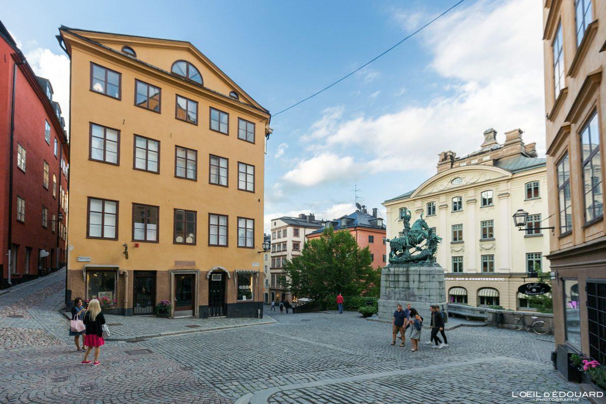 Place Kopmantorget - vieille ville Gamla Stan Stadsholmen Stockholm Suède Sweden Sverige street