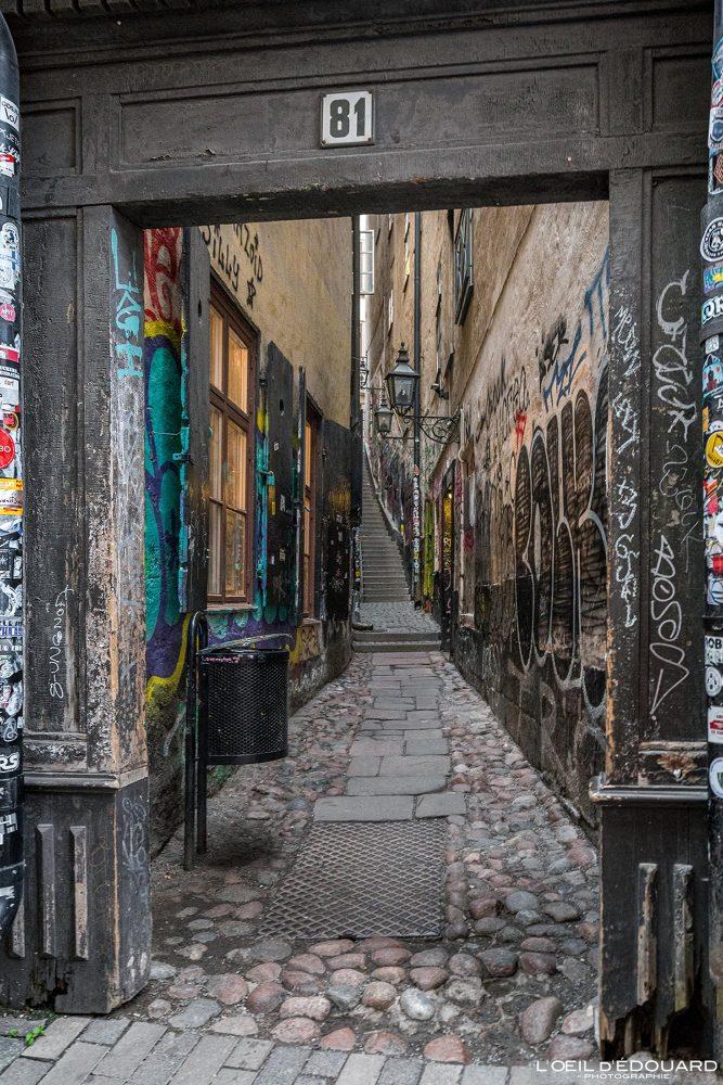 Graffitis rue Vasterlanggatan - vieille ville Gamla Stan Stadsholmen Stockholm Suède Sweden Sverige street art