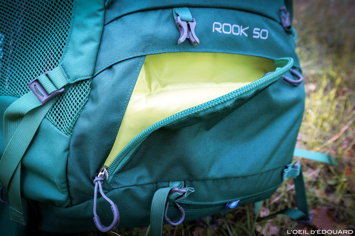 Test sac à dos randonnée Osprey Rook 50 backpack review mountain outdoor trekking ouverture sac de couchage