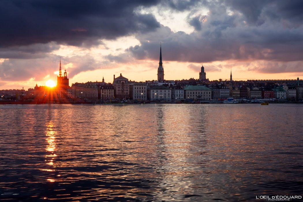 Coucher de soleil sur Gamla Stan - Stadsholmen Stockholm Suède Sweden Sverige sunset