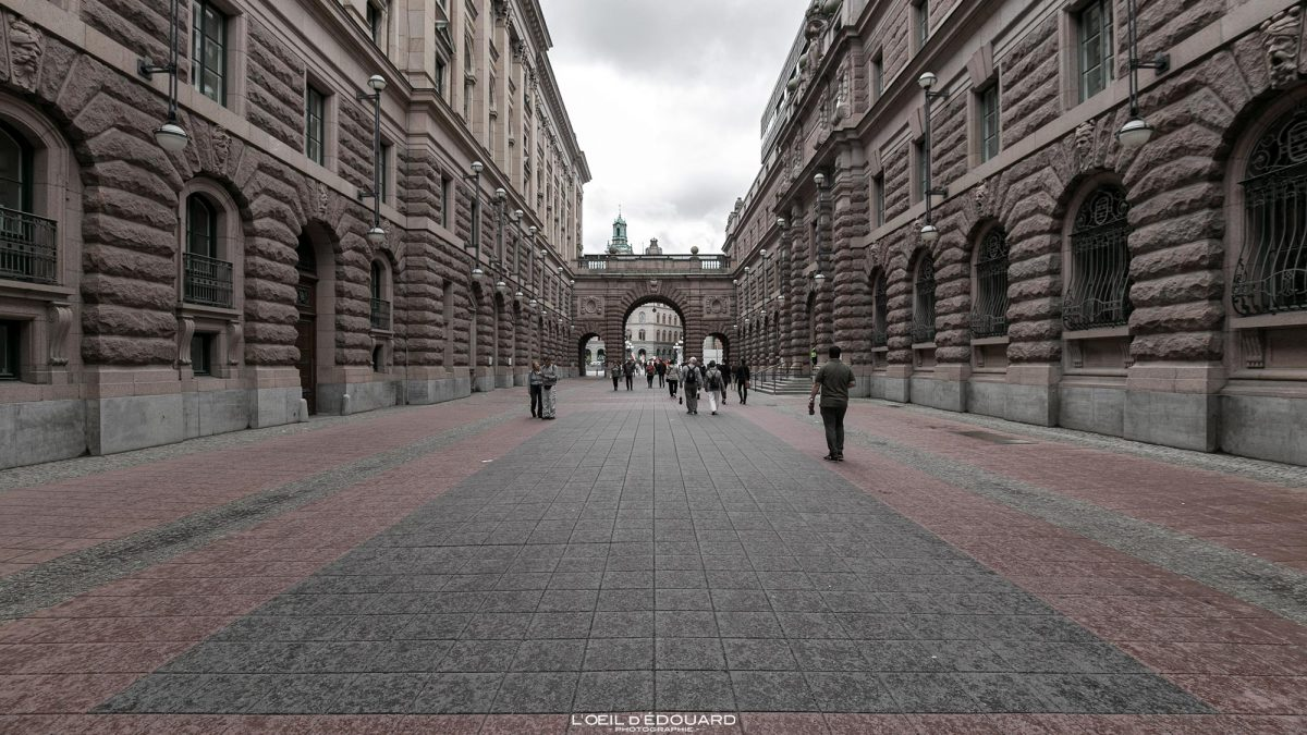 Parlement suédois Riksdagshuset sur l'île Helgeandsholmen - Stadsholmen Stockholm Suède Sweden Sverige