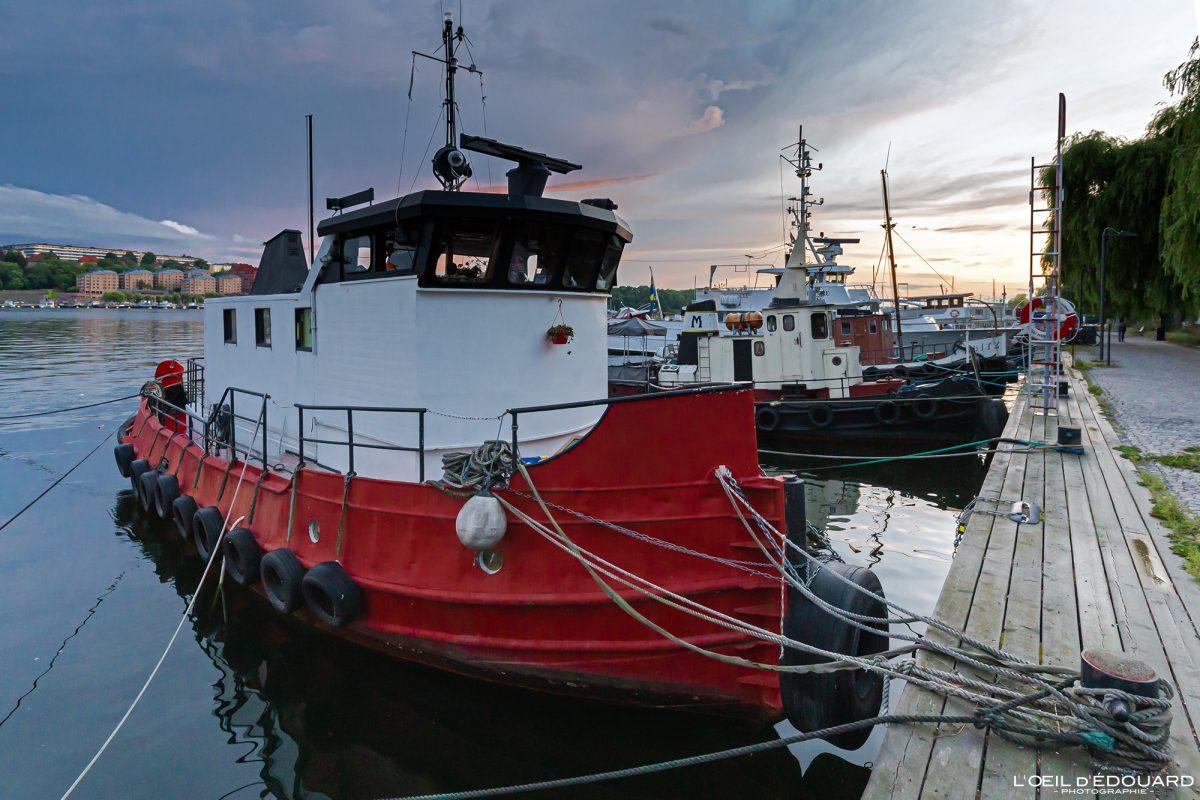 Bateaux de pêche Norr Mälarstrands Kungsholmen Stockholm Suède Sweden Sverige fishing boats