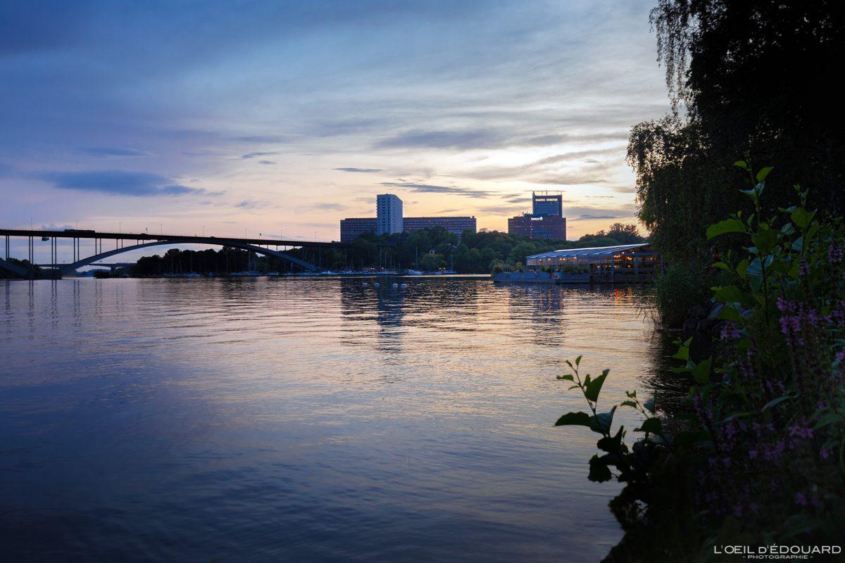 Coucher de soleil sur Norr Mälarstrands Kungsholmen Stockholm Suède Sweden Sverige sunset