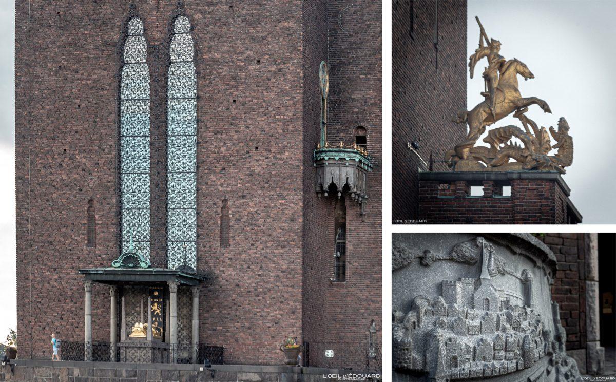 Stadshus Kungsholmen Stockholm Suède Sweden Sverige sculpture