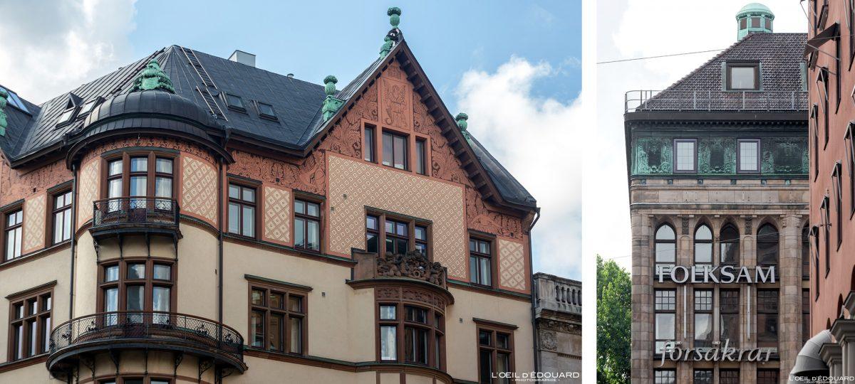 Façade décorée bâtiment Ostermalm Stockholm Suède Sweden Sverige architecture building