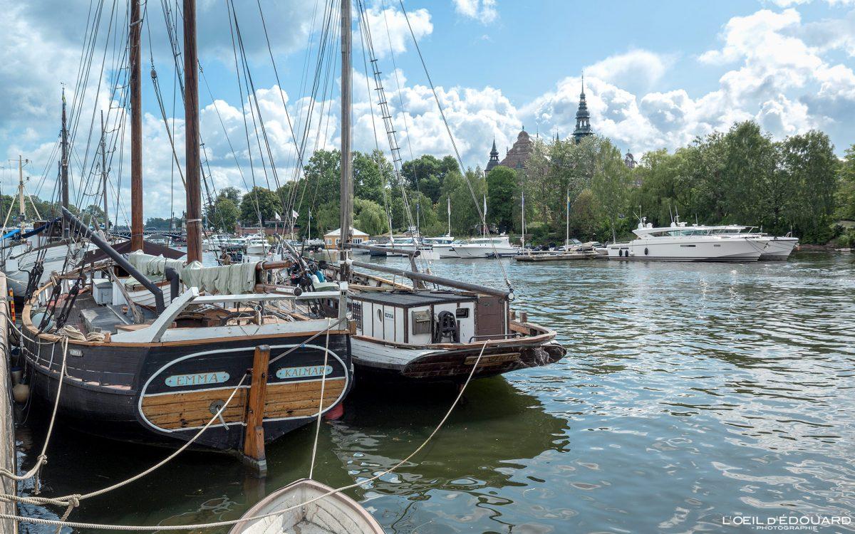 Bateaux Strandvagen Norrmalm Stockholm Suède Sweden Sverige boats