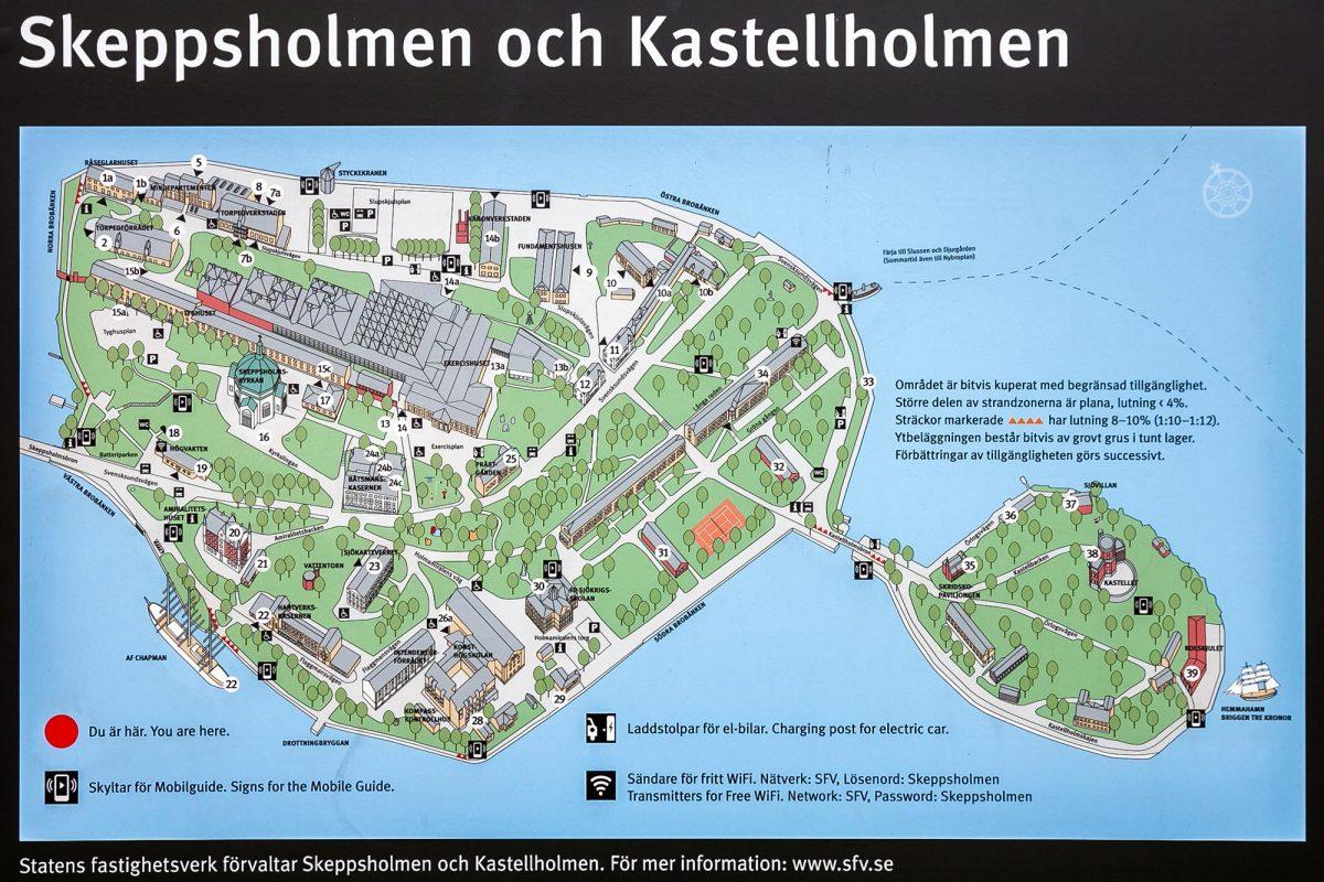 Carte de l'île Skeppsholmen Kastellholmen Stockholm Suède Sweden Sverige island map