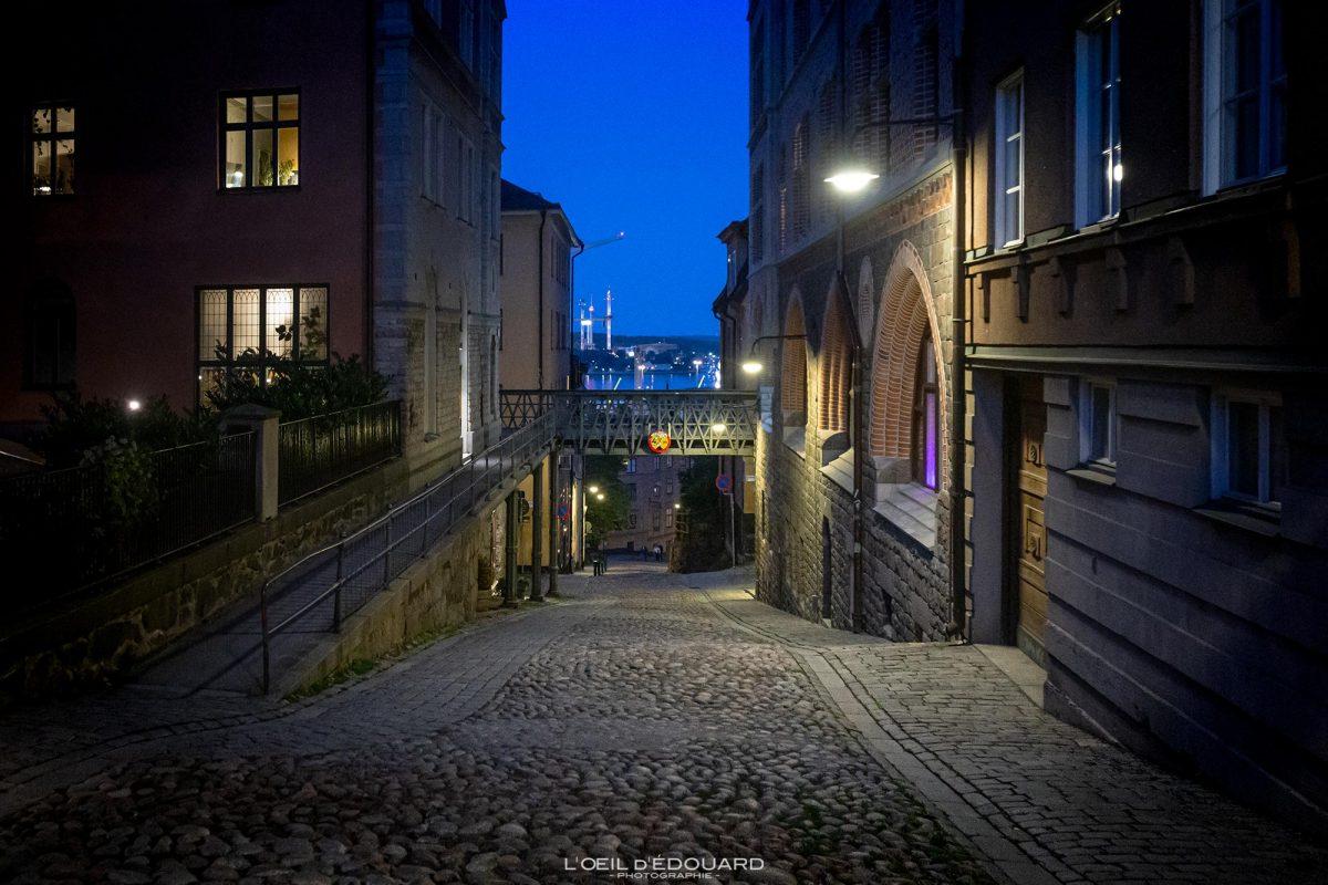 Sodermalm Stockholm de nuit Suède Sweden Sodermalm Sverige street night