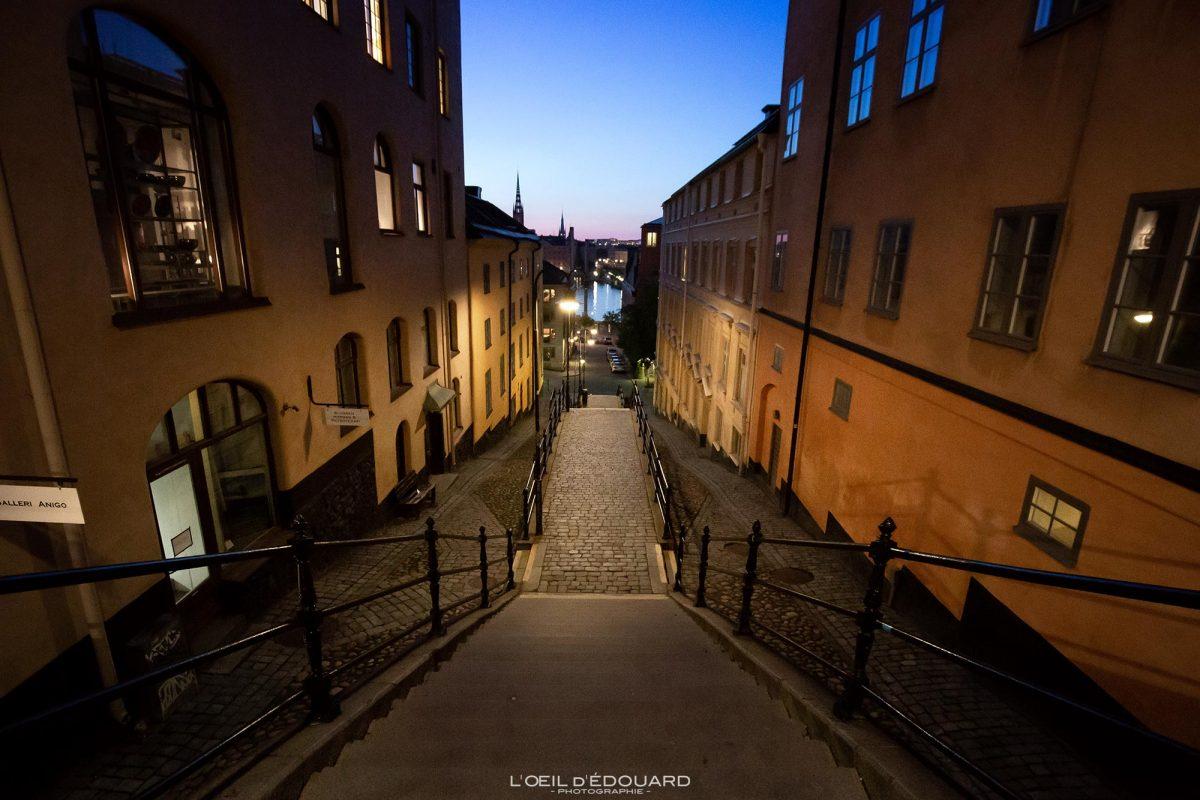 Escaliers Sodermalm Stockholm de nuit Suède Sweden Sodermalm Sverige street night stairway