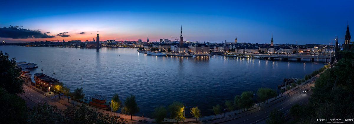 Coucher de soleil Panorama sur la ville de Stockholm depuis Monteliusvagen Sodermalm Suède Sweden Sverige sunset panoramic view