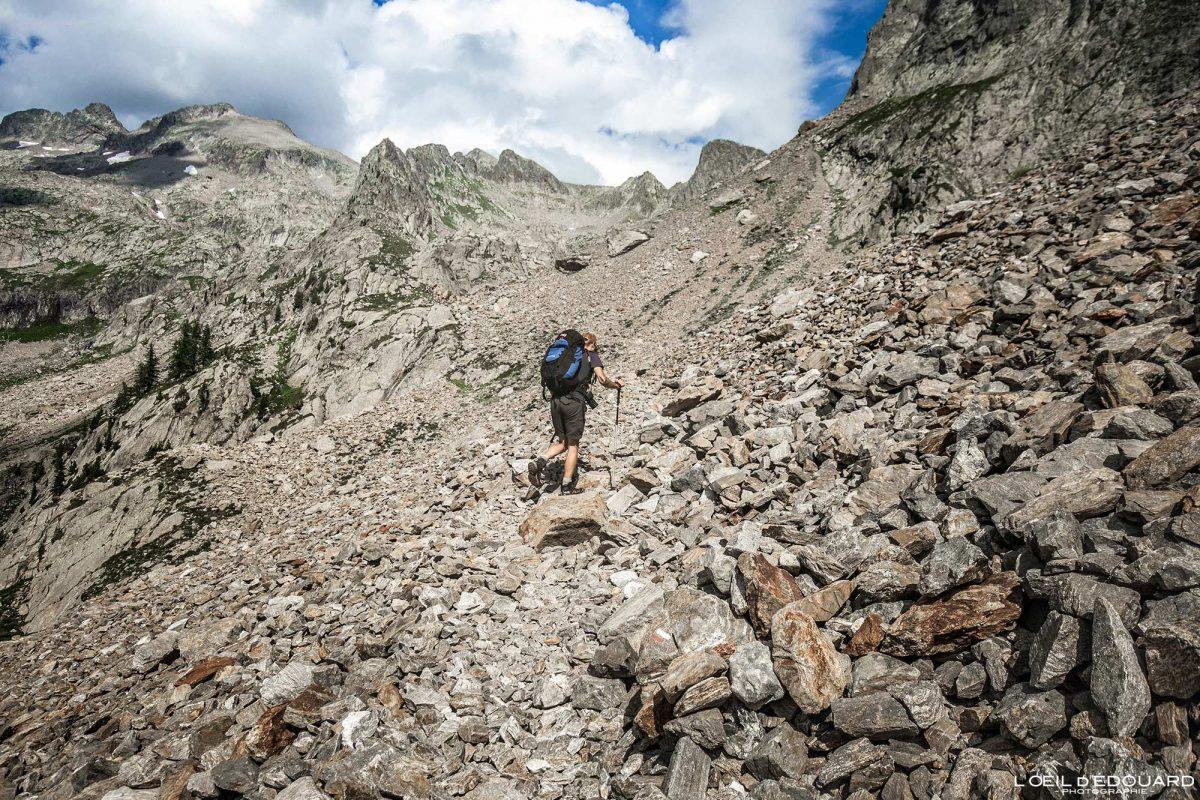 Randonnée pierrier Pas du Mont Colomb - Massif du Mercantour Alpes-Maritimes Provence-Alpes-Côte d'Azur / Paysage Montagne Trek Outdoor Landscape Mountain Hike Hike Trekking