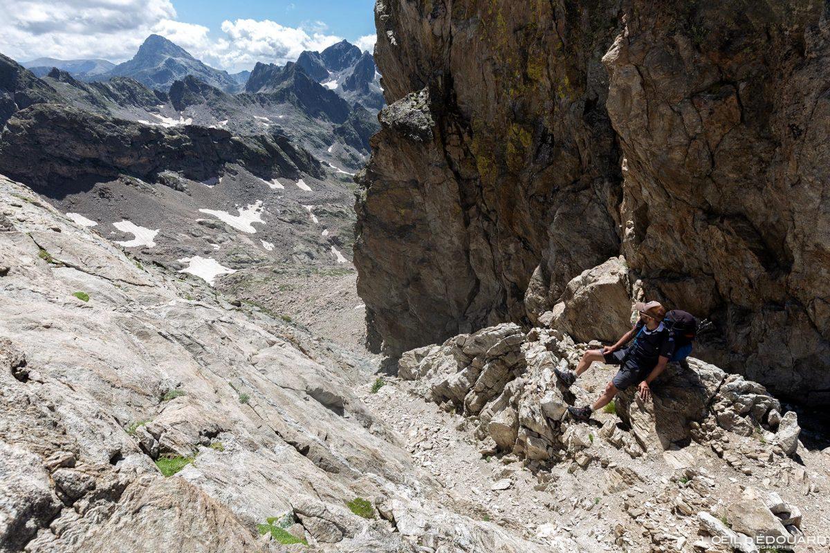 Couloir Asquasciati Mont Clapier - Massif du Mercantour Alpes-Maritimes Provence-Alpes-Côte d'Azur / Paysage Montagne Randonnée Trek Outdoor Landscape Mountain Hike Hike Trekking