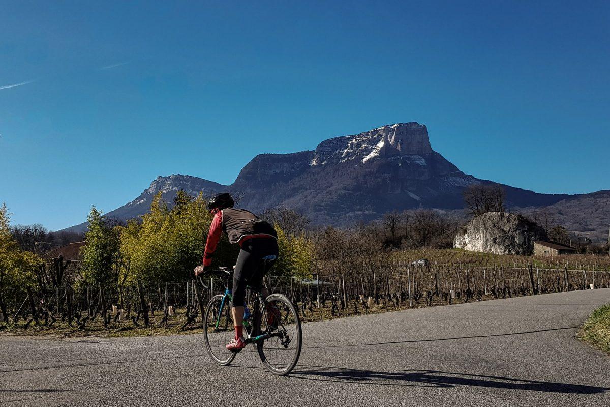 Cyclisme vélo - Vignes d'Apremont Le Mont Granier Massif de la Chartreuse Savoie Paysage Montagne Outdoor Landscape Mountain road bike