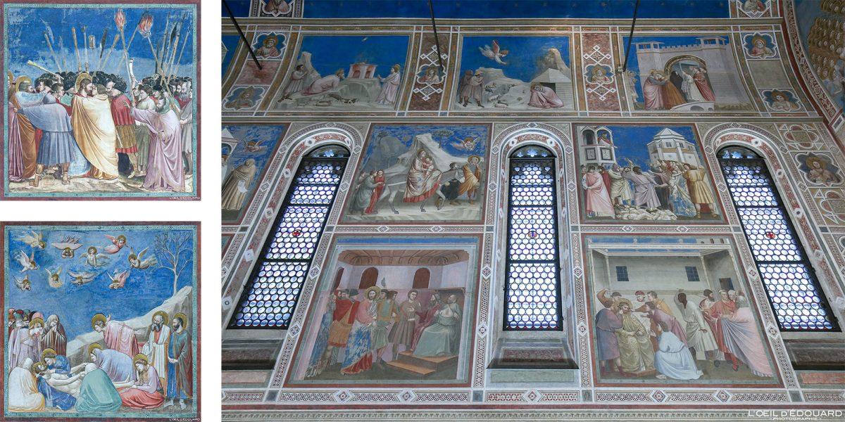 Peintures Fresques Giotto intérieur Chapelle Scrovegni, Padoue Italie - Capella degli Scrovegni Padova Italia Italy wall paintings Art Renaissance italienne