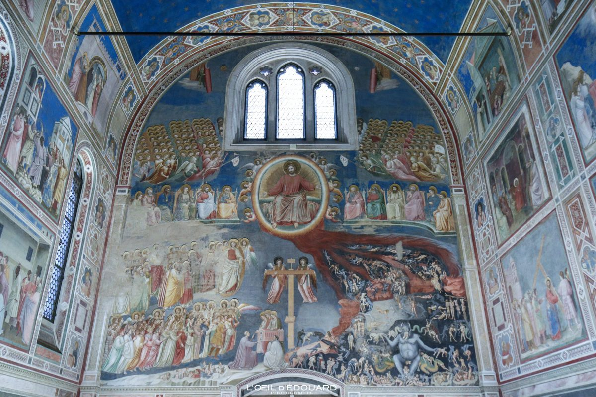 Le Jugement Dernier - Peintures Fresques Giotto intérieur Chapelle Scrovegni, Padoue Italie - Il Giudizio Universale Capella degli Scrovegni Padova Italia Italy The Last Judgment wall paintings Art Renaissance italienne
