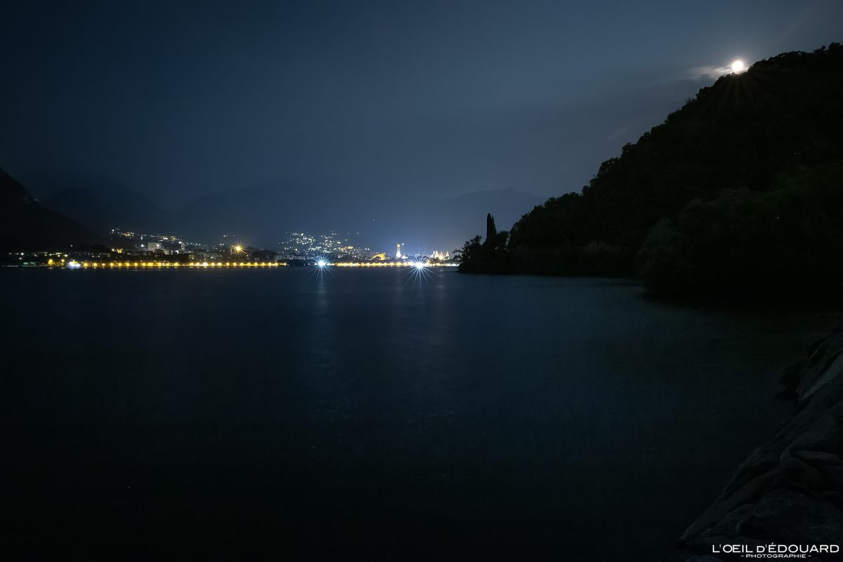 Lecco et le Lac de Côme Italie du Nord - Lago di Como Italia North Italy lake night lights