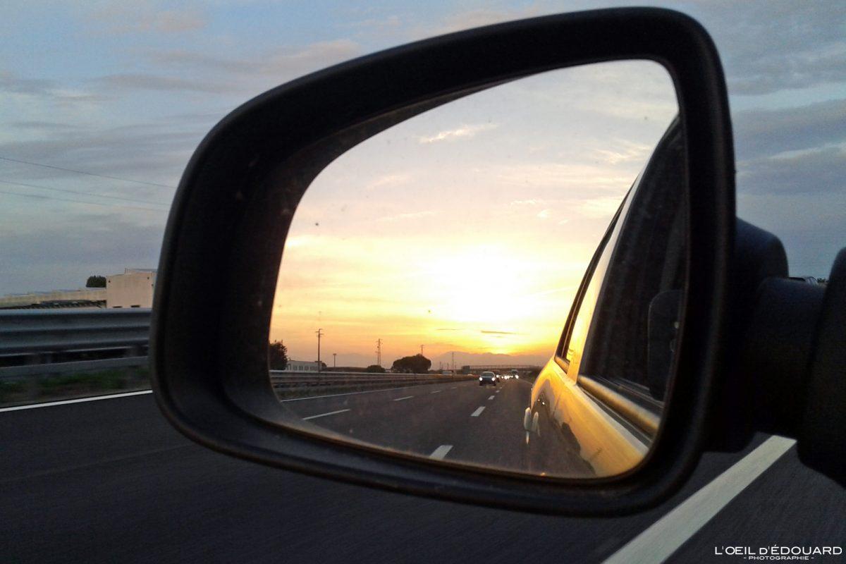 Coucher de soleil dans le rétroviseur Road Trip Italie du Nord - Veneto Italia North Italy highway road sunset