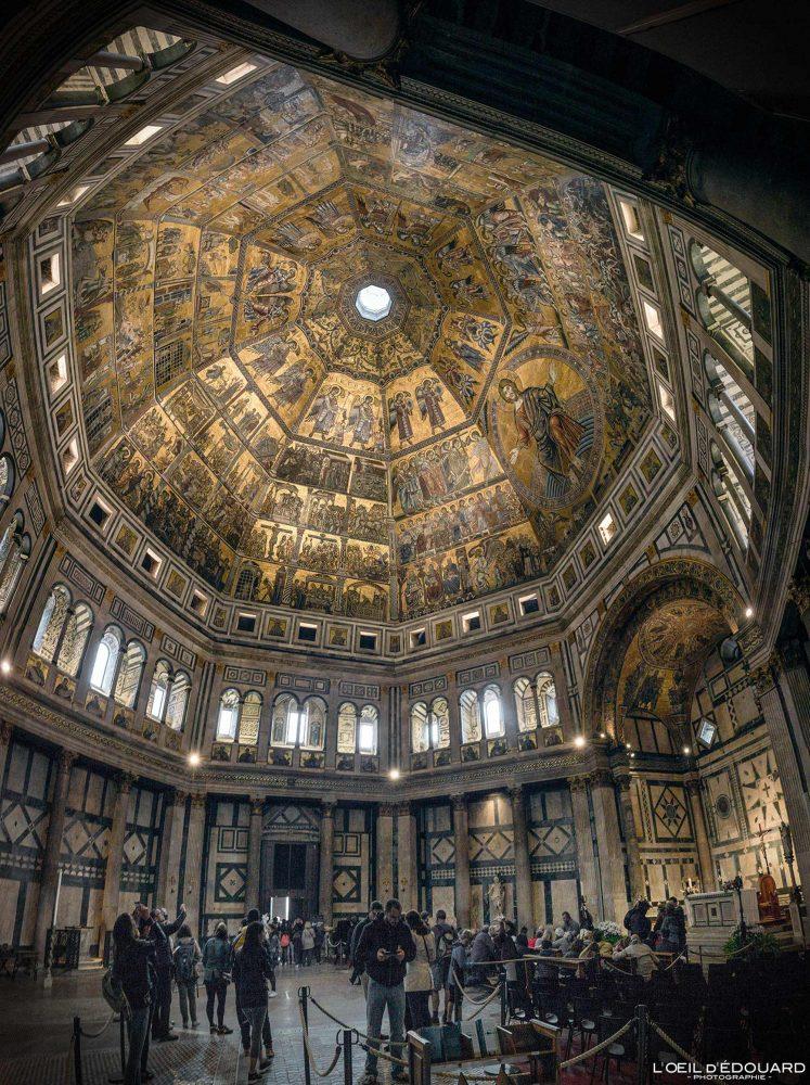 Visite Intérieur Mosaïque plafond Baptistère de Saint-Jean Florence Toscane Italie - Battistero di San Giovanni Firenze Toscana Italia city Tuscany Italy architecture ceiling