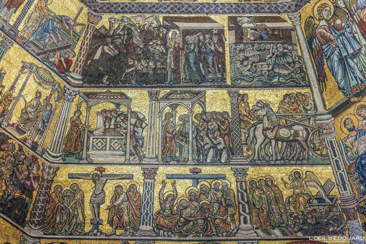 Mosaïque plafond Baptistère de Saint-Jean Florence Toscane Italie - Battistero di San Giovanni Firenze Toscana Italia city Tuscany Italy mosaic art ceiling