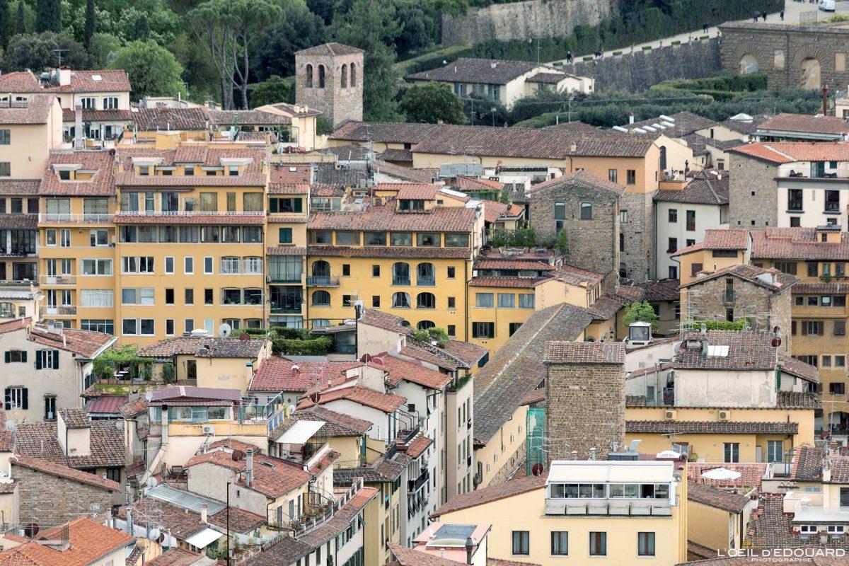 Vue depuis le Campanile de la Cathédrale de Florence Toscane Italie : Ponte Vecchio Firenze Toscana Italia city view Tuscany Italy