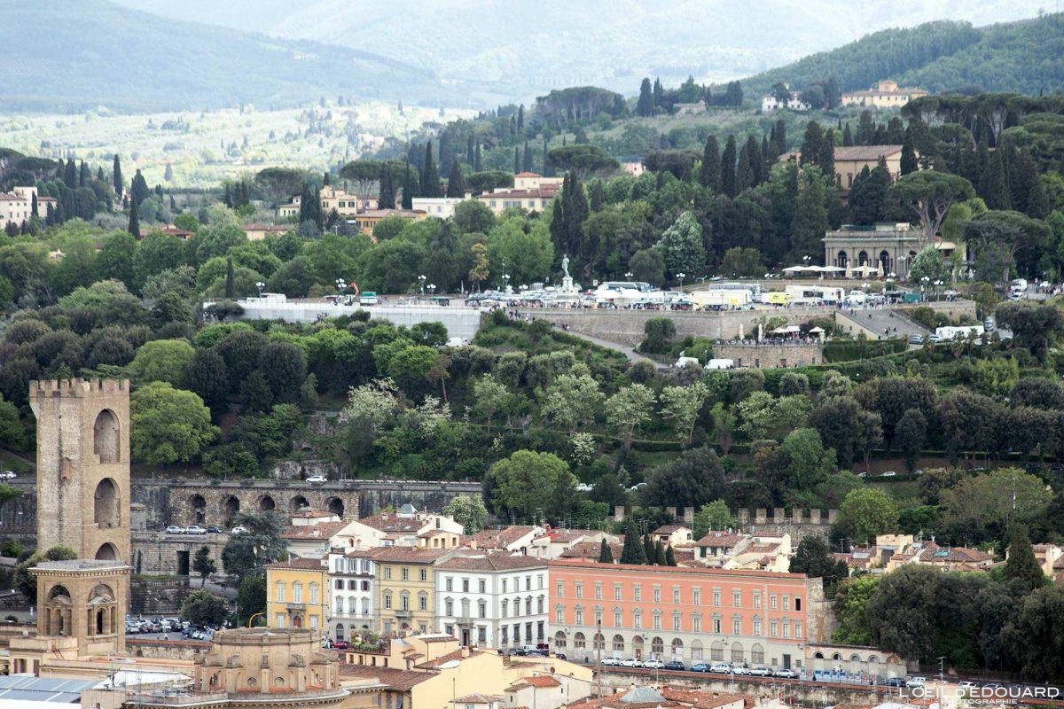 Vue depuis le Campanile de la Cathédrale de Florence Toscane Italie : Piazzale Michelangelo Firenze Toscana Italia city view Tuscany Italy