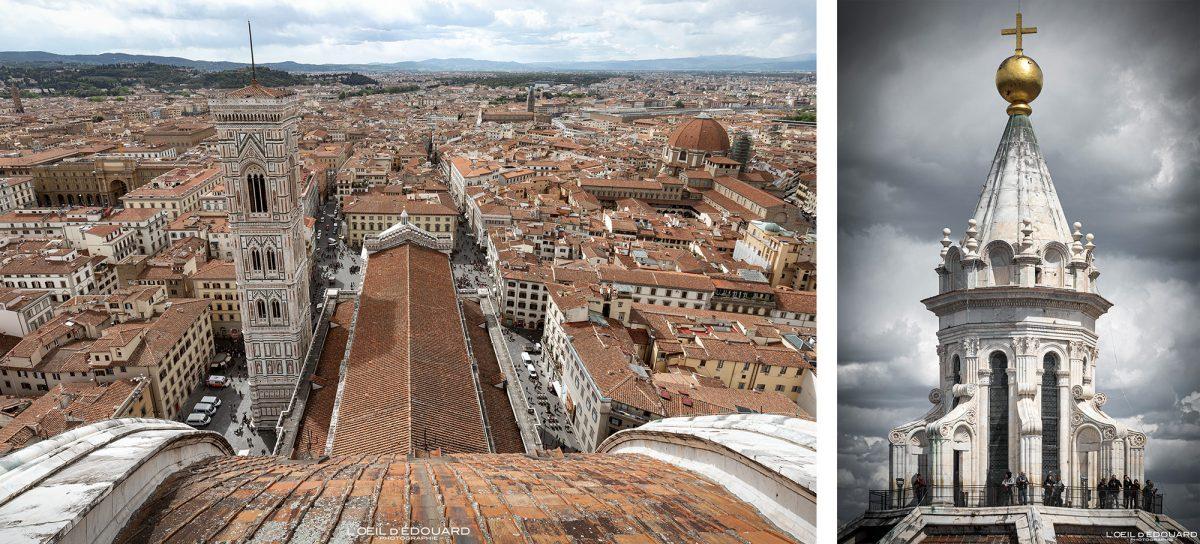Cathédrale de Florence Toscane Italie : Lanternon sommet Coupole de Brunelleschi architecture Renaissance - Cattedrale di Santa Maria del Fiore Duomo Firenze Toscana Italia city view Tuscany Italy